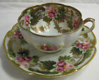 Antique Hand-painted NIPPON Porcelain Tea cup & Saucer with Gold Beads & Roses
