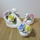 Bone China Flowers - Two Radnor Swans and Royale Stratford small Bouquet