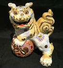 Vintage Japan Kutani Pottery Shishi Lion Foo Dog Dragon Gold Moriage Statue