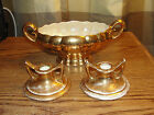 VINTAGE - GUARANTEED 22K GOLD USA - CANDY DISH & 2 CANDLESTICKS - GOOD SHAPE!