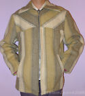 MENS WOOL COAT 1960s VINTAGE OUTDOOR SPORTS JACKET TWEED STRIPE ZIPPER SIZE 42