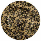 Glass Charger Plate 13 Damask Gold Black Set of 2