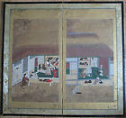 Antique UKIYOYE SCHOOL Japanese Tokugawa PERIOD 2 panel SCREEN circa 1700 Japan