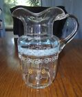 ANTIQUE VICTORIAN BLOWN GLASS FLORAL ENAMELED WATER PITCHER APPLIED HANDLE