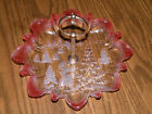 Vintage Clear/Frosted/Peach Glass Christmas Serving Dish w/ Center Metal Handle