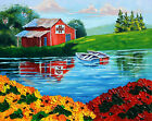 RBeal Landscape Original Oil Painting Red Barn Lake Row Boats Red Flowers