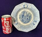 ANTIQUE STAFFORDSHIRE BLUE WHITE 10 SIDED IRONSTONE