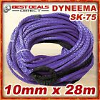 New Dyneema Winch Rope Purple Synthetic 10mm x 28m 4WD Recovery Offroad Kit Warn