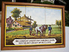 Hand Painted European Antique 6 Tile Painting Farm Cottage Farmers Plow Horses