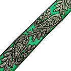 Green Jacquard Ribbon Trim Metallic paisley pattern Saris Border Lace 4 Yard