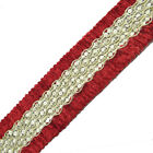 Metallic Gold Braid Trim Red Border Sari Ribbon Sewing Lace Craft India 4 Yd