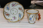 RARE ANTIQUE SEVRES FRENCH PORCELAIN CUP AND SAUCER WITH BUTTERFLY HANDLE - MINT