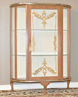 *VINTAGE ART DECO WOOD EFFECT SINGLE DOOR BOW FRONT CHINA CURIO DISPLAY CABINET*