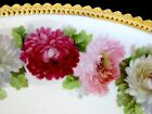 Vintage Decorative Silesia 1914 Germany Bowl in Red & Pink Rose W golden trim
