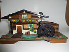 Vintage Wooden Swiss Chalet Musical Jewelry Box turning Water Wheel Made Japan