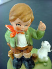 vTg Japan Music Box Boy Figurine Puppy Dog Statue~CUTE Edelweiss Song Antique