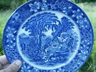 ANTIQUE FLOW BLUE JAPAN PLATE MAN HORSE DOG 9