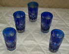 GREAT! 5 BOHEMIAN CZECH COBALT BLUE GLASSES FOR A GREAT PRICE. WATER/WINE