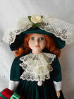 Hand Painted Porcelain Doll With Emerald Green Lace Gown And Hat