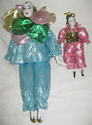 Set of 2 Harlequin Porcelain Jester Mardi Gras Figurines / Dolls - 17