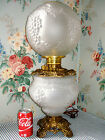 c1900 Consolidated HANGING GRAPE GWTW Parlor Lamp Crystal Satin Glass BONUS