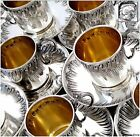 BOULENGER Rare French Sterling Silver Vermeil Twelve Coffee/Tea Cups w/Saucers