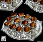 Rare French All Sterling Silver Vermeil Liquor Cups 12 pc w/Tray Box Empire