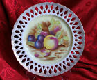 PIERCED SERVING PLATTER HAND PAINTED FRUIT PATTERN W/GOLD MADE IN OCCUPIED JAPAN