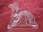 Molded Clear Glass Camel Figurine with Masonic Insignia on base of neck-PERFECT!