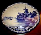 Antique English Tradicional Blue&White Porcelain Platter Plaque Signed By Artist
