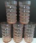 Set of 5 pink crackle horizontal ribbed glasses - tumblers