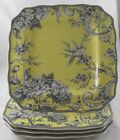 SET(4) 222 FIFTH ADELAIDE YELLOW Toile Bird DINNER PLATES NEW!  MORE AVAILABLE!