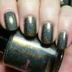 DARLING DIVA New ~WICKED~ Grey/GREEN/Gold HOLOGRAPHIC Flakie NAIL Lacquer/POLISH