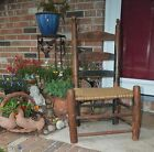 ANTIQUE SC CHILDS LADDERBACK CHAIR CYPRESS OLD GREEN PAINT HAND TIED ROPE SEAT