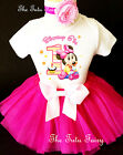 Minnie Mouse Hot Pink Orange Baby Girl 1st First Birthday Tutu Outfit Shirt Set