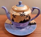 Vintage Japan T&T peach and blue luster sunset scene teapot and saucer - FREE SH