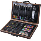 80 Piece Deluxe Art Set Drawing And painting w Wood Case  Accessories New
