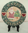 Fitz Floyd canape cookie plate Christmas Omnibus Santa tree Happy Holidays