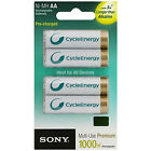 NEW Genuine SONY Cycle Energy NiMH Rechargeable Battery AA 2100 mAh x 4 Pack