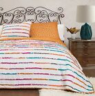 NEW QUEEN QUILT SET FLORAL STRIPED STYLE PINK ORANGE YELLOW TEAL BEDDING