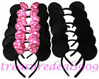 20 MINNIE MOUSE EARS HEADBANDS BLACK PLUSH PINK BOW PARTY FAVORS COSTUME MICKEY