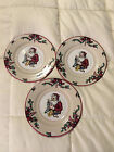 VINTAGE 1994 FITZ AND FLOYD SANTAS LIST HOLLY FINE CHINA SAUCER PLATES LOT SET