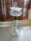 Nice Hand Painted GWTW Parlor Lamp w Milk Glass Base