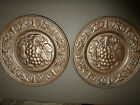 Vintage Stamped Metal 2 Plates Wall Hanging Decorative Copper/Brass Look