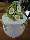 VINTAGE LEFTON CHINA RUSTIC DAISY (2) HANDLED COOKIE JAR & LID #3859