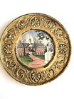 BRASS HAMMERED PORCELAIN WHEELING PLATE PEERAGE WREN BUILDING WILLIAMSBURG