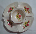 Cal Orig California Original Lazy Susan Floral Pattern Appetizer Serving Set EUC