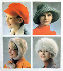 Vintage Style 4392 Misses  70's Set of Hats Sewing Pattern One Size 1973  UNCUT