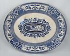 1880 AESTHETIC B.C & W. LATE MAYERS KIOTO BLUE TRANSFERWARE PLATTER W/ BIRD