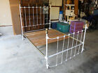 Classic Ivory 1920s Vintage Antique Solid Brass & Cast Iron Bed - Made in USA